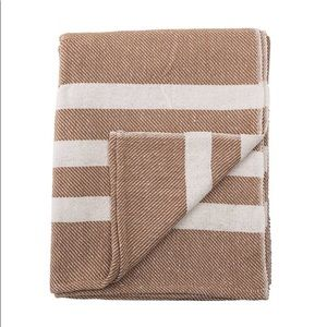 NWT Bloomingville brown striped throw blanket home